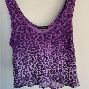 Aritzia Talula Purple Leopard Print Crop Tank Top